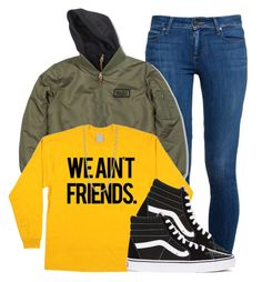 """ain't no friends bihh ✋"" by trinsowavy ❤ liked on Polyvore featuring Paige Denim, Vans and FOSSIL"