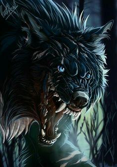 The wolf needs cuddles. Anime Wolf, Fantasy Wolf, Fantasy Art, Fantasy Creatures, Mythical Creatures, Wolf Hybrid, Werewolf Art, Wolf Wallpaper, Vampires And Werewolves