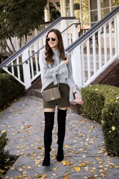 Skirt and Sweater Outfit | Black Over the Knee Boots | OTK Boots Under $100 | Tie Sleeve Sweater | Neutral Style | Fall Outfits | Fall Outfit Inspiration | Thanksgiving Outfit Idea