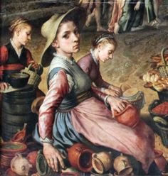 1559 Pieter Aertsen (circa 1508–1575) Market with Christ and the Woman Taken in Adultery DETAIL