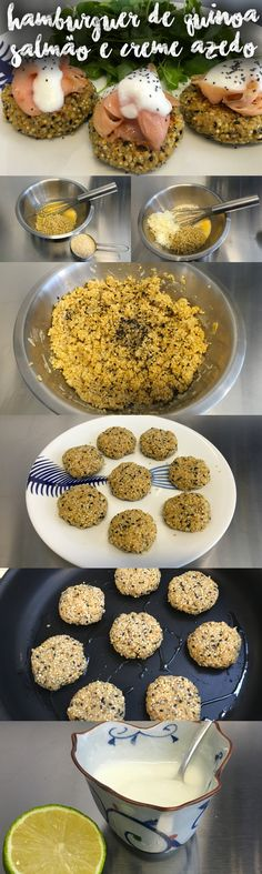 Esse prato é fácil de fazer e faz um super sucesso: Hamburger de Quinoa, Salmão e Creme Azedo. Veja mais receitas em www.myyellowpages.com.br