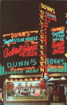 "Dunn's Delicatessen - Montreal's historic ""Dunn's Famous Steak House, Cocktail Lounge & Bar, Dunn's Famous Smoked Meat"" Image source: A Canadian Family Vintage Postcard Collection Quebec Montreal, Montreal Ville, Famous Smoke, Vintage Neon Signs, Sign Writing, Old Signs, Lounge, Sweet Memories, Bars For Home"