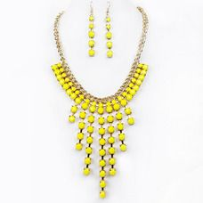 Fashion Necklace N7525-YE Yellow Color (Unit Price: $5.00) 2 Pieces