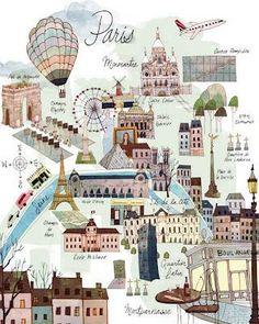 ¡Nos encanta Paris! Todo sobre viajes en http://www.ondamujer.com/programas/viajes  Gorgeous map of Paris from: http://es.paperblog.com/guias-de-viaje-ilustradas-1504147/