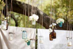 Pleasant in order to the website, in this moment I'm going to teach you regarding Rustic Wedding Ideas Garden Mason Jars. fairy jar lanterns are simply magical. these fairy jar lanterns are gorg. Hanging Mason Jars, Blue Mason Jars, Hanging Candles, Hanging Lights, Jar Lights, Diy Hanging, Wedding Jars, Wedding Ideas, Wedding Reception