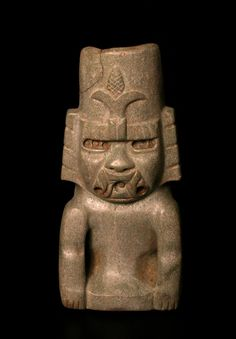 Olmeca - Jade Green Stone Sculpture of the Maize God Seated  Origin: Mexico Circa: 900 BC to 500 BC - Jade