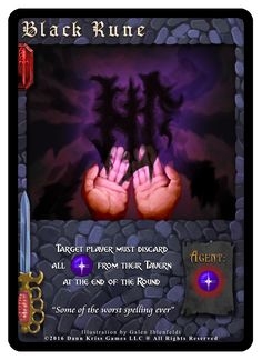 """""""Black Rune"""" card from Tavern Masters fantasy card game (Dirty Deeds Expansion) by Dann Kriss. Art by Galen Ihlenfeldt. Dann Kriss Games LLC ® All Rights Reserved Runes, The Expanse, Spelling, Card Games, Masters, Fantasy, Cards, Black, Master's Degree"""
