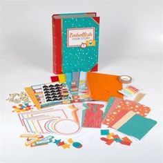 Embellish Your Story is a colorful collection of all the bits and pieces you need to complete your paper projects in four versatile colors; red, orange, yellow and teal. Packaged in an adorable book box with a magnetic closure. You'll be amazed at how much fun you will have adding flair and pizzaz to your projects. Imported.