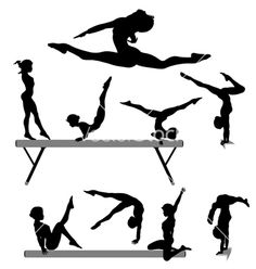 Female gymnast silhouettes vector on VectorStock®