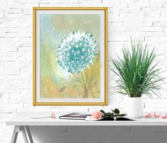Teal and green Home decor Dandelion printable Large by DorindaArt
