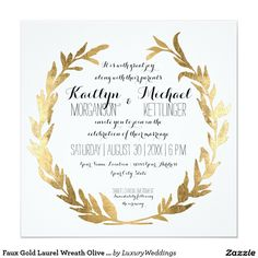 Toga party greek gold laurel natural invitation greek faux gold laurel wreath olive leaf branch square 13 cm x 13 cm square invitation card stopboris Images