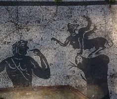 """""""To the north of the Via Ostiensis is this mosaic of Oedipus and the Sphinx. It was found in a tomb on the Pianabella, the plain to the south of Ostia, Porta Romana necropolis, Ostia Antica, Italy."""" (Pinner's original photo)"""