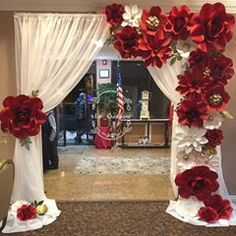 My Sweet 16 Birthday girl also had to have a grand entrance! Flower curtain option now available for rent! Red Party Decorations, Quinceanera Decorations, Paper Flower Art, Giant Paper Flowers, Sweet 16 Centerpieces, Wedding Centerpieces, Beauty And The Beast Theme, Arch Decoration, Flower Curtain