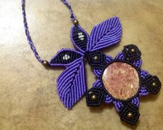 Macrame Necklace with rhodocrosite, magic necklace, tribal necklace, fairy