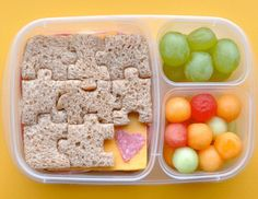 A puzzle-shaped cookie cutter makes lunch time learning time, too! #toddler