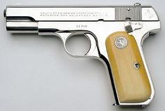 Colt Pistols and Revolvers for Firearms Collectors - Model 1903 .32 ACP & Model 1908 .380 ACP Pocket Hammerless Special Order Gold, Silver and Nickel Plated Finish Pistol Examples