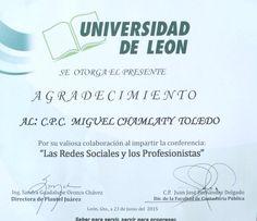 Gracias por la atenciones a la Universidad de León, saludos a los participantes del evento.