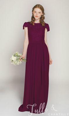 Cap Sleeves Long Lace and Chiffon Bridesmaid Dress TBQP322D 6bdc0ce304a9