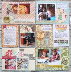 Scrapbooking ideas using divided page protectors, a fast & fab technique for getting the scrapping done.  Mix with traditional scrapbook pages for varied interest.