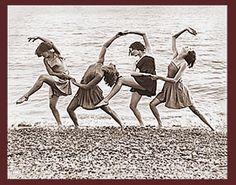 vintage photo - girls on beach dance