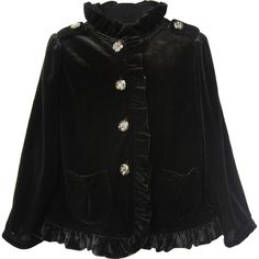 Awesome velvet black jacket Sienna with ruffle and jeweled buttons for your little girl by Isobella and Chloe. It features a stretchy velvet and ruffles that run along the collar down at the hemline, two front pockets. Crystal buttons for closure and they