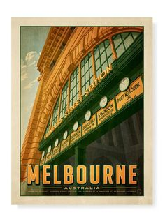 Flinders Street Station Clocks Print - Melbournalia - Local Goods and Souvenirs from Melbourne Australian Vintage, Art Nouveau Poster, Melbourne Art, Vintage Advertisements, Ads, Graphic Illustration, Illustrations, Vintage Travel Posters, Large Prints