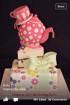 Love the whimsical look, teacup. teapot. and slice of cake! LOVE LOVE