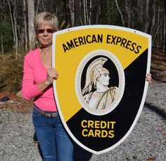 VINTAGE AMERICAN EXPRESS 2 SIDED DIECUT SIGN 1950's COLLECTABLE MINT NOS (I have one just like this for sale)