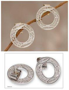 Sterling silver filigree earrings - Lunar Auras | NOVICA
