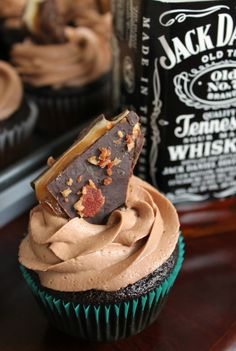 The Kitchen Prep: Chocolate-Whiskey Cupcakes with chocolate, whiskey, marshmallow, caramel, bacon, brittle on top!
