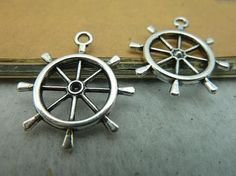 10pcs 25x28mm antique silver rudder  c3272 by bjerkf on Etsy, $4.00