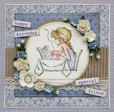 Handmade blue floral vintage style card featuring girl with coffee (image from LOTV) Happy Birthday Special Friend, Birthday Cards For Mom, Vintage Birthday Cards, Happy Birthday Images, Hobby Town, Hobby House, Whimsy Stamps, Digi Stamps, Cheap Hobbies