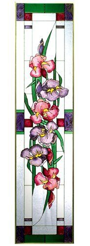 """Irises Lavender Pink Vertical Art Glass Panel Wall Hanging Suncatcher 42 x 10 by eEarthExchange. $88.95. Hooks are included for immediate placement. Painted Tempered Glass MADE IN THE USA!!. Ships within 5 business days. 10.25""""W x 42""""H. **  ** SHIPS UPS - Order BY DECEMBER 13 for CHRISTMAS DELIVERY **  **. A garden of irises lights up this beautiful hand-painted art glass panel! Zinc-framed, this impressive vertical piece measures 10.25"""" wide x 42"""" high. It features two solde..."""