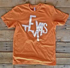 Texas Shirt - Burnt Orange and White