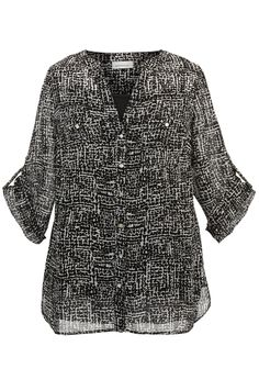 Plus Size Printed Two-Pocket Tunic Blouse | Plus Size New Arrivals | Avenue