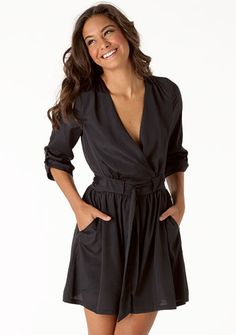 """Tess"" Satin Dress in Black - 3/4-Sleeved, Surplice-Style Wrap and Pockets."