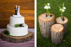 Logs used as tables and the wedding cake with pine cones. Planning and Design by One Fine Day Events. Photography by Theilen Photography.