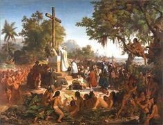 A História do Brasil começa com a chegada do navegador Pedro Alvares Cabral. A primeira Missa foi realizada no dia 26 de abril de 1500 por Frei Henrique de Coimbra.