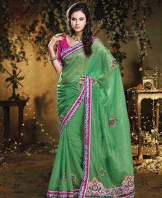 Gorgeous Green Designer Saree [ADF28428] $37.38 - Buy fashion wear online, Buy Indian wear Online by A1designerwear.com