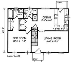 Cape Cod Style House Plan - 3 Beds 2.5 Baths 1199 Sq/Ft Plan #66-292 Main Floor Plan - Houseplans.com
