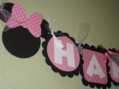 Minnie Mouse Birthday Banner in Light Baby by LittleBirdiPaperShop, $23.00