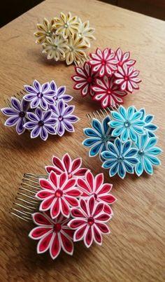 ハナガラスの画像|エキサイトブログ (blog) Paper Quilling Jewelry, Paper Quilling Designs, Quilling Flowers, Kanzashi Flowers, Quilling Patterns, Ribbon Art, Diy Ribbon, Fabric Ribbon, Ribbon Crafts