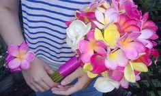 Plumeria Bouquet 7 piece Set, Frangipani Bouquet, Tropical Bouquet, Pink Fushia Bouquet, Real Touch Calla Bouquet, Plumeria Bridal Bouquet