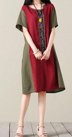 New women loose fit plus size dress maxi ethnic flower tunic pocket robe fashion… 2019 Plus Size Maxi Dresses, Simple Dresses, Pretty Dresses, Casual Dresses, Fashion Dresses, Short Sleeve Dresses, Summer Dresses, Long Sleeve, Mode Cool