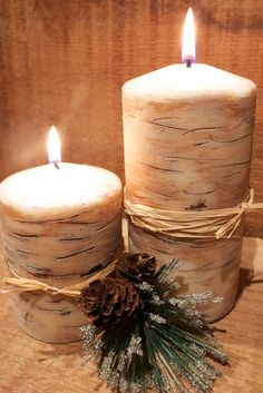 DIY Birch Look Candles