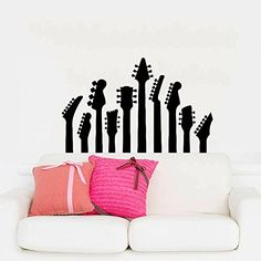 Wall Decals Guitar Electro Jazz Musical Instrument Guitars Recording Studio Bedroom Dorm Vinyl Sticker Wall Decor Murals Wall Decal: Amazon.co.uk: Kitchen & Home
