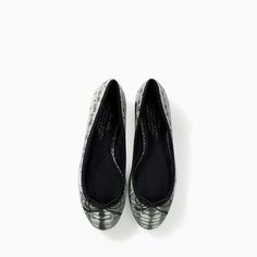 Image 2 of SOFT LEATHER PRINTED BALLERINA FLATS from Zara