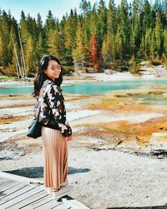 Instagram: @quennandher // TOPSHOP Camouflage jacket // ZARA accordion pleated skirt, platform shoes // RAY-BAN outdoorsman ii craft // Yellowstone National Park, Wyoming, USA.