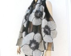 Nuno felt silk merino wool scarf White by MajorLaura on Etsy