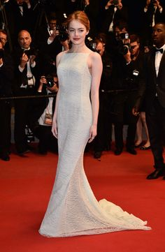 Emma Stone in Dior Haute Couture and Repossi jewels at the Cannes Festival in 2015